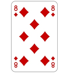 Poker playing card 8 diamond vector image