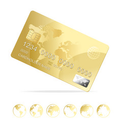realistic 3d detailed gold shiny plastic credit vector image vector image