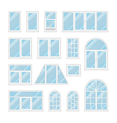 set windows with transparent blue glass vector image