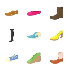 Types of shoes icons set cartoon style vector image vector image
