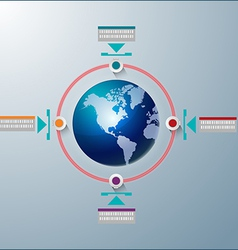 World global Technology info graphic vector image