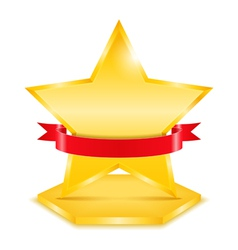 Golden Star with Ribbon vector image