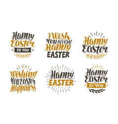 happy easter label set hand drawn lettering vector image