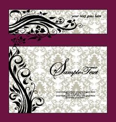 Purple Swirls Frame Wedding Invitation vector image