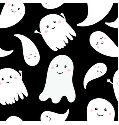 seamless pattern of cute little cartoon ghosts vector image