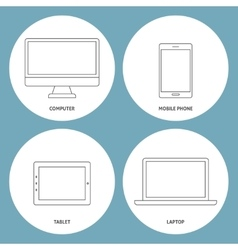 Set of electronic outline icons vector image