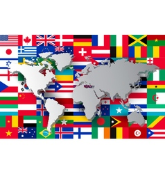 World map on different flags background vector