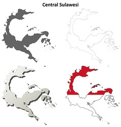 Central Sulawesi blank outline map set vector image
