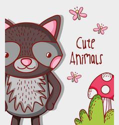 cute raccoon doodle cartoon vector image