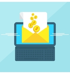 laptop with envelope money vector image vector image
