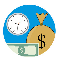 money and time icon vector image