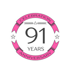 Realistic ninety one years anniversary celebration vector