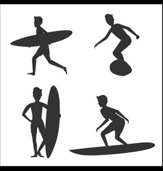 Set of silhouettes of male surfers with vector