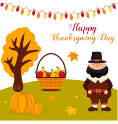 thanksgiving autumn background with pilgrimtext vector image