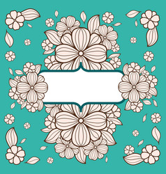 black and white vintage card with flowers vector image