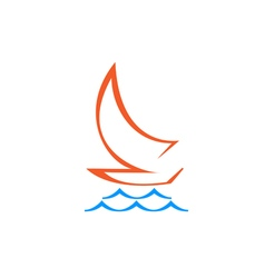 Original stylized sailboat on waves vector