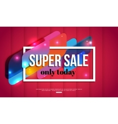 Super Sale shining banner on red background vector image vector image