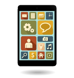 tablet with vintage icon vector image vector image