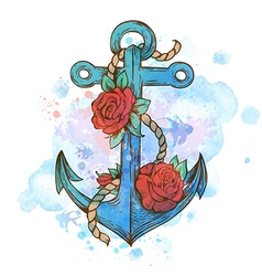 Vintage hand drawn anchor and red roses vector image vector image