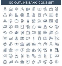 100 bank icons vector