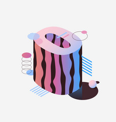 3d isometric pink and purple number zero vector image