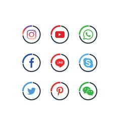 A collection popular social media icons vector