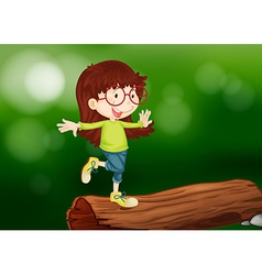 A girl above the wood vector