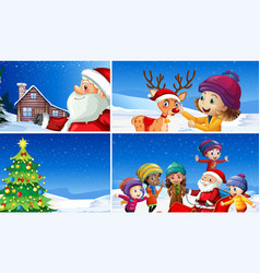 A set of winter christmas vector