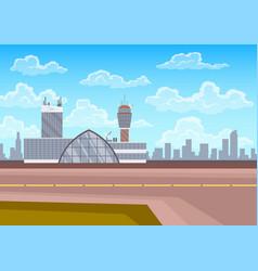 airport terminal building control tower runway vector image