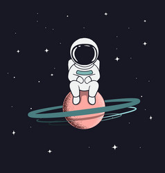 Astronaut sits on saturn vector
