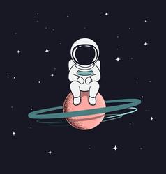 Astronaut sits on saturn vector