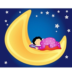 Baby girl sleeping on the moon vector