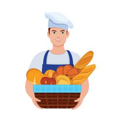 Baker holds a basket with fresh bread vector