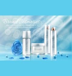 banner with bottles for cosmetic products vector image