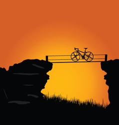 Bike on cliff color vector