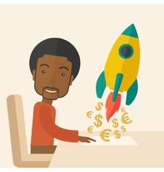 Black guy is happy to start up a new business vector