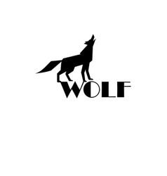 black wolf sign on white background vector image