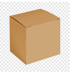 Blank cardboard box mockup realistic style vector