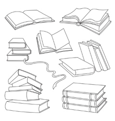 Books set isolated on white background vector