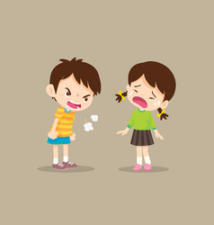 Bullying children angry boy vector