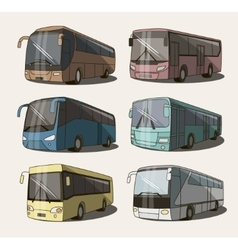Bus icons set vector image