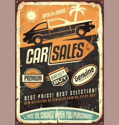 Car sales vintage sign design vector
