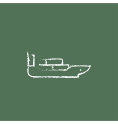Cargo container ship icon drawn in chalk vector image