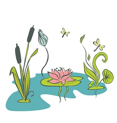 Cartoon pond vector