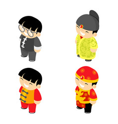 chinese boys new year wear flat design characters vector image