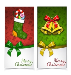 Christmas banners Presents and decorations on vector
