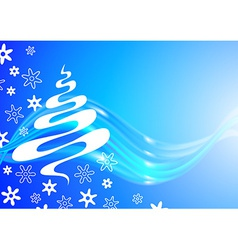 Christmas card with tree and snowflakes sketch vector