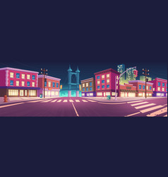 city street with houses and overpass road at night vector image