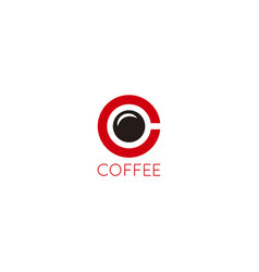 Coffee cup logo design letter c coffee concept on vector