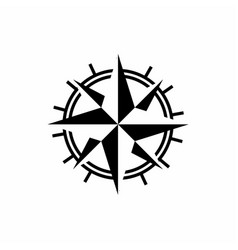compass with mono line style logo design vector image